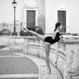 Young beautiful ballerina dancing on the Spanish Steps in Rome,  Fototapety do Szkoły Tańca Fototapeta
