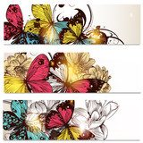 Business cards set with butterflies and  flowers  for design  Motyle Fototapeta