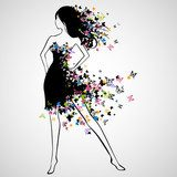 Vector Illustration of Beautiful Woman with Butterfly Dress  Motyle Fototapeta