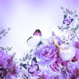 Bouquet of pink roses and butterfly, floral background  Motyle Fototapeta