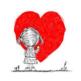 Girl draws red heart, valentine card sketch for your design  Drawn Sketch Fototapeta