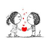 Couple in love together, valentine sketch for your design  Drawn Sketch Fototapeta