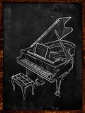 Grand Piano Drawing on Blackboard  Drawn Sketch Fototapeta