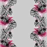Doodle seamless flower ink pattern  Drawn Sketch Fototapeta