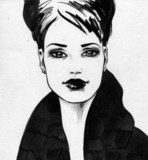 B&W Girl  Drawn Sketch Fototapeta