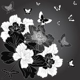 fantasy hand drawn flowers  Drawn Sketch Fototapeta