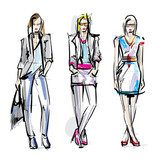 Fashion models. Sketch.  Drawn Sketch Fototapeta