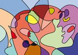 abstract people in confusion, colorful vector background Picasso Obraz