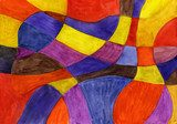 Abstract watercolor lines and shapes painting. Vibrant colors. Picasso Obraz