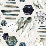 Watercolor hexagon with stripes, water color marble, grained, grunge, paper textures. Styl Industrialny Tapeta