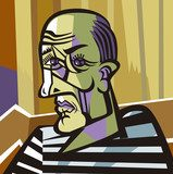 bald man cubist painter portrait Picasso Obraz