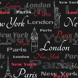 Black seamless pattern with popular cities Wieża Eiffla Fototapeta