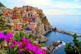 Cinque Terre coast of Italy with flowers Salon Plakat