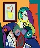 Colorful abstract background, cubism art style, portrait of woman sitting Picasso Obraz