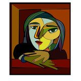 Colorful abstract background, cubism art style, thinking woman Picasso Obraz