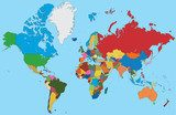 Colorful map of World  Mapa Świata Fototapeta