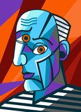 cubist great painter face portrait painting Picasso Obraz