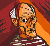 cubist old man face portrait Picasso Obraz