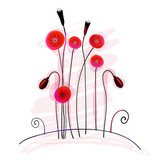Cute summer poppies Maki Fototapeta