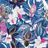 Watercolor seamless tropical pattern with exotic plants. Palm and deliciosa leaves. Orchid and Medinilla Magnifica flowers Draw Flower Fototapeta