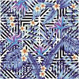 Tropical plants and flowers seamless blue style geometric background Draw Flower Fototapeta