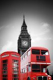 Big Ben in London mit roter Telefonzelle und Bus Miasta Fototapeta