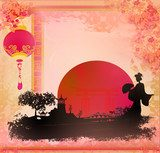 Geisha at sunset  Orientalne Fototapeta