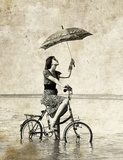 Girl with umbrella on bike Photo in old image style Salon Plakat