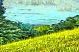 grass filled hillside against a background of trees and a blue sky Van Gogh Obraz