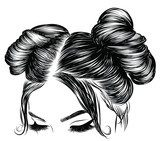 Hand-drawn beauty woman with luxurious cute bun hairstyle. Idea for card typography vector.Wedding style Fototapety do Salonu Fryzjerskiego Fototapeta