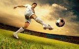 Happiness football player on field of olimpic stadium on sunrise  Stadion Fototapeta