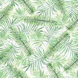 Tropical seamless pattern with leaves. Watercolor background with tropical leaves. Tekstury Fototapeta