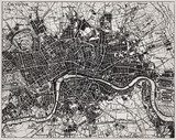 Historical map of London, England.  Mapa Świata Fototapeta