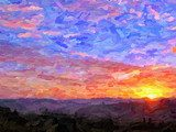 IMPRESSIONISM sunset in the mountains Van Gogh Obraz