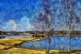 Incredible beauty of nature landscape. Spring season. Impressionism oil painting in Vincent Van Gogh modern style. Creative artistic print for canvas or textile. Wallpaper, poster or postcard design. Van Gogh Obraz