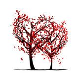 Trees of love for your design  Kwiaty Fototapeta