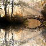Autumn - Old bridge in autumn misty park Obrazy do Salonu Obraz