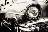 Photograph of a classic vehicle with close-up on headlights. Pojazdy Fototapeta