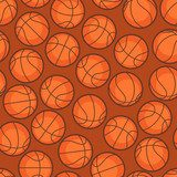 Sports seamless pattern with basketball icons in flat style.  Sport Fototapeta