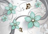 Abstract floral background with butterflies for design  Kwiaty Fototapeta