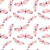 The pattern of butterflies. Seamless vector background. Watercolor illustration 6 Fototapety do Pokoju Dziewczynki Fototapeta