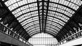 The iron construction above the Centrale Station in Antwerp. Industrialne Fototapeta