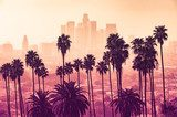 Los Angeles skyline with palm trees in the foreground Miasta Fototapeta