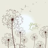 Love Card With Dandelions  Dmuchawce Fototapeta
