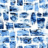 Watercolor seamless pattern with brush stripes and strokes. Blue color on white background. Hand painted grange texture. Ink geometric elements. Fashion modern style. Endless fabric print. Abstrakcja Fototapeta