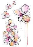 abstract ink and watercolor flowers, vector background  Kwiaty Fototapeta