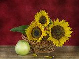 Still life with sunflowers and apples Kuchnia Plakat