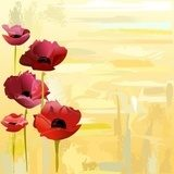 Painted poppies background Maki Fototapeta
