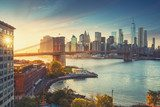 Retro style New York Manhattan with Brooklyn Bridge and Brooklyn Bridge Park in the front. Mosty Obraz