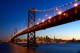San Francisco skyline and Bay Bridge at sunset, California, USA Salon Plakat